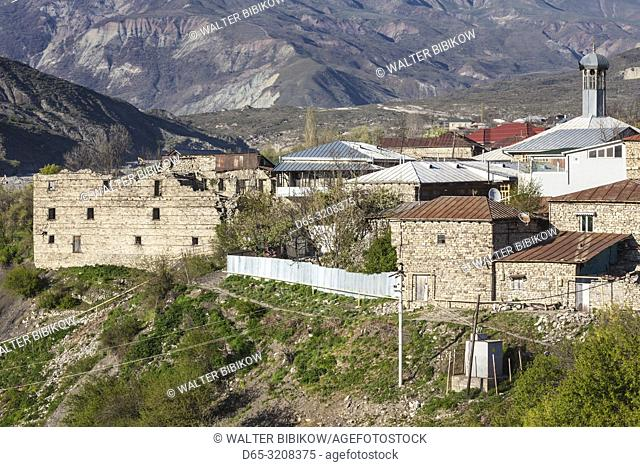 Azerbaijan, Lahic, high angle town view