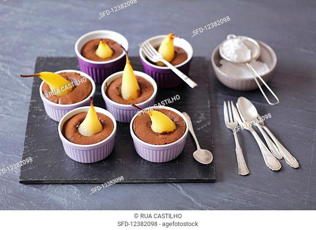 Chocolate cakes with poached pear