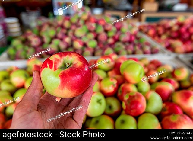 Man's hand holding a shiny and crisp green and red apple. Containers with many other apples in the blurred background. Shop interior ambient