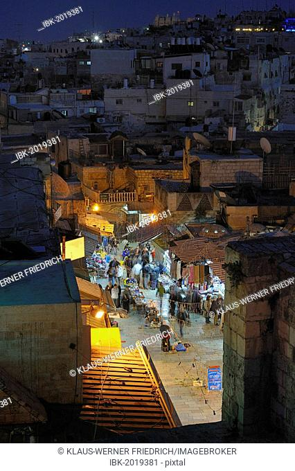 Evening mood at the Damascus Gate, view over the Arab Quarter towards the Dome of the Rock on the Temple Mount, Old City of Jerusalem, Israel, Middle East