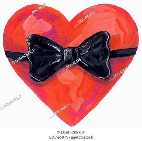 illustration - symbol - a heart with a bow
