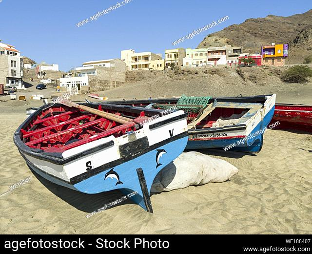 Traditional fishing boats on a beach near Sao Pedro. Island Sao Vicente, Cape Verde an archipelago in the equatorial, central Atlantic in Africa