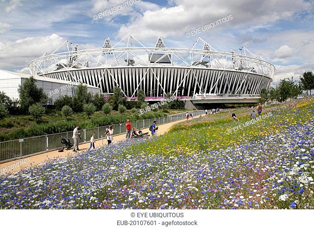Stratford View of the 2012 Olympic Stadium with meadow planting in the foreground