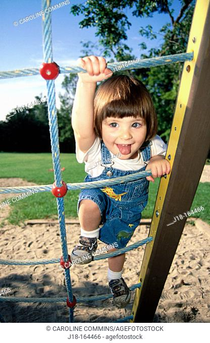 Climbing on play structure
