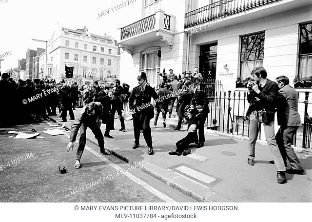 Demonstration in Chesham Place, Belgravia, London, with a struggle between protesters and police