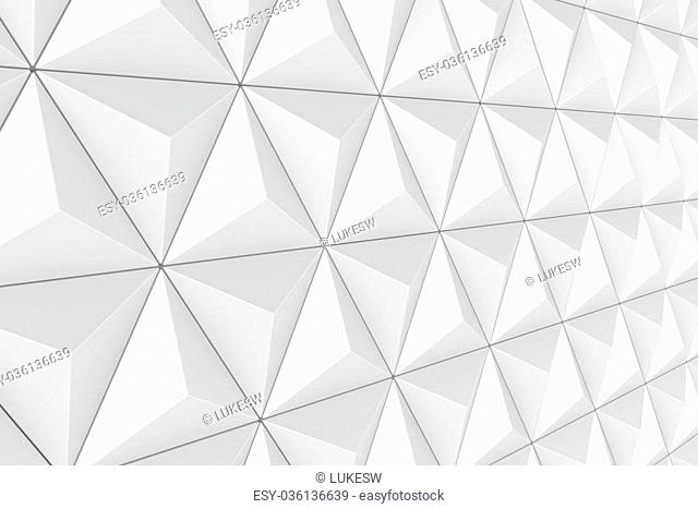 3D render of faceted triangular textured surface or wall