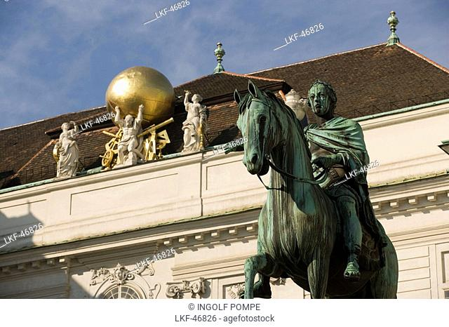 Equestrian monument of Emperor Josef II in front of the Austrian National Library, Josefsplatz, Alte Hofburg, Vienna, Austria