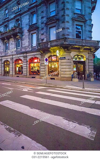 Pedestrian crossing and Cafe Brant at twilight Strasbourg Alsace France