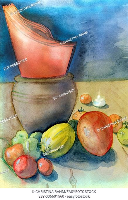 Kitchen table with orange napkins, harvested tomatoes, fruit and small tea light. Original watercolor and gouache painting