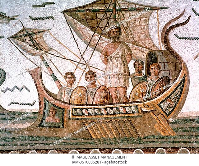 Odysseus Ulysses tied to the mast of his ship to save him from the Sirens. Homer Odyssey, epic Greek poem. Roman mosaic, 3rd century AD, Tunis