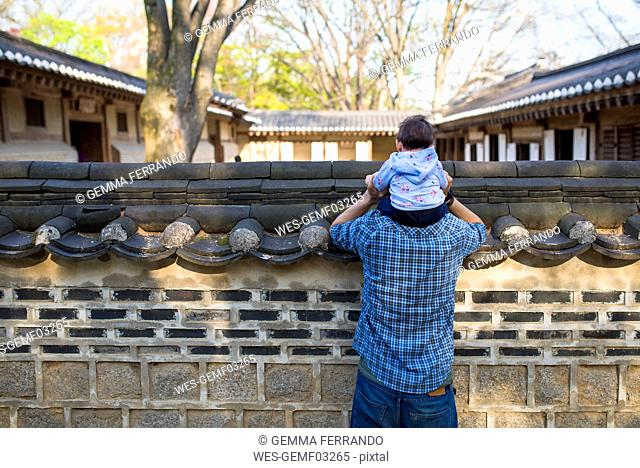 Back view of father and baby girl visiting the Secret Garden, Changdeokgung, Seoul, South Korea