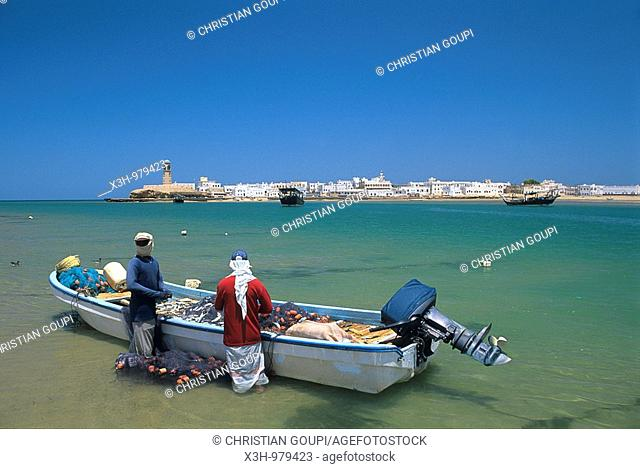 rowing fishing boat on the beach of Sur,Sultanate of Oman,Arabian Peninsula,Asia
