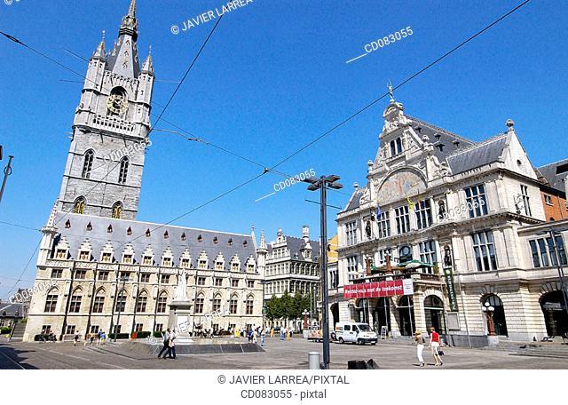 Lakenhalle, Sint Baafsplein. Ghent. Flanders, Belgium