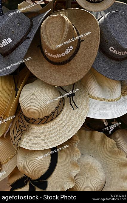Hats for sale in the market stall, Siem Reap, Cambodia, South East Asia