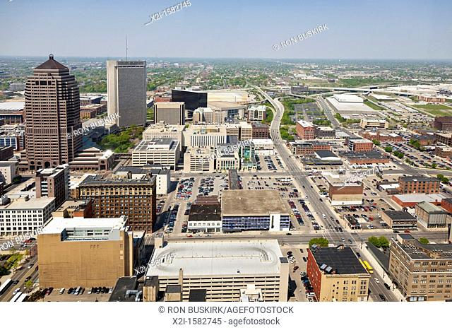 Aerial view of downtown Columbus, Ohio taken from the James A  Rhodes State Office Building looking north