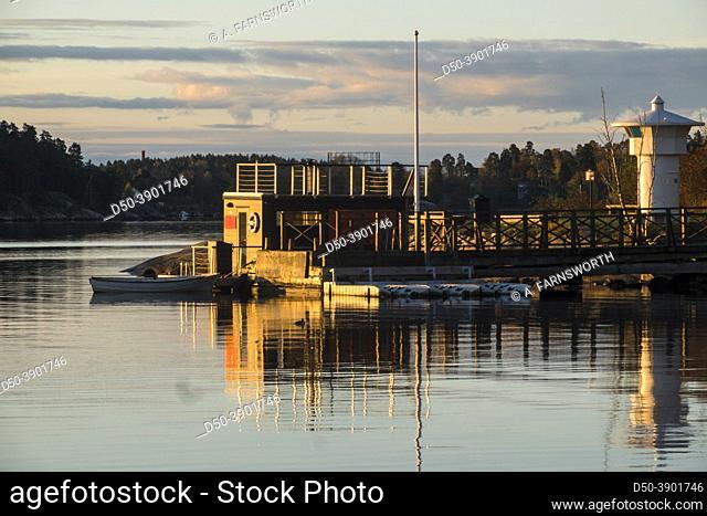 Stockholm, Sweden A dock and boats in the Djursholm neighbourhood