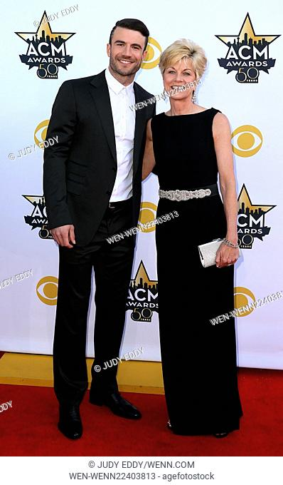 50th Academy of Country Music Awards Arrivals at AT & T Stadium in Arlington, Texas Featuring: Sam Hunt, Joan Hunt Where: Arlington, Texas