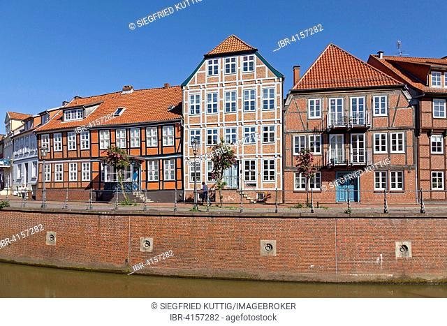 Gabled houses, old harbour, Stade, Lower Saxony, Germany