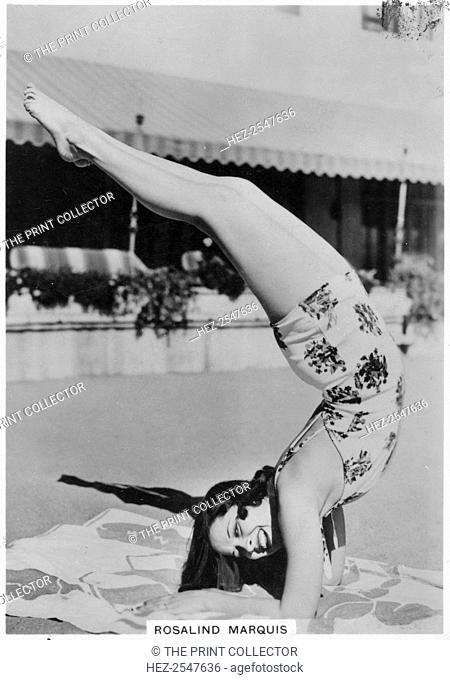 Rosalind Marquis, American film actress, 1938. Rosalind Marquis (1915-2006) came to Hollywood after winning a talent contest playing a concert piano