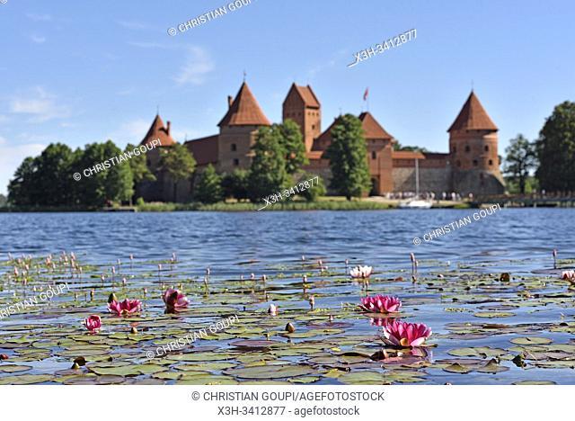 Trakai Castle on an island in Lake Galve, Lithuania, Europe