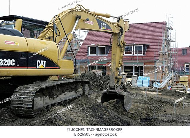 Excavation for the foundation of a new house, Essen, North Rhine-Westphalia, Germany