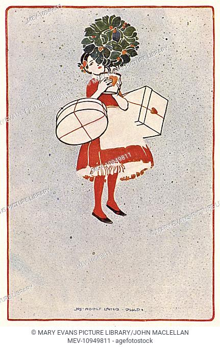 German poster design, woman with shopping, by Josef Adolf Lang of Dusseldorf