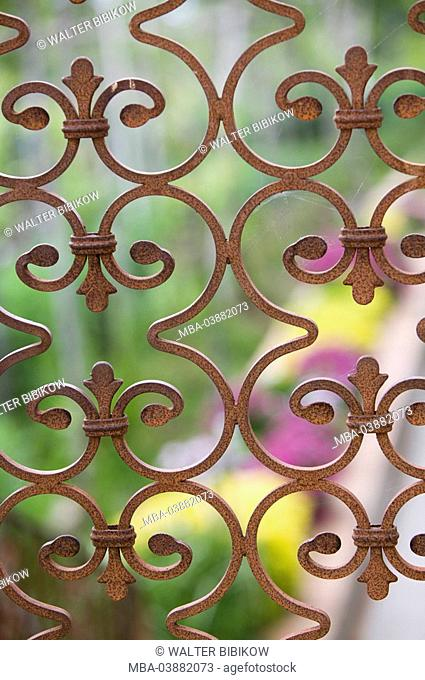 Iron-gate, detail, fuzziness, garden, garden-gate, gate, iron, rusts, wrought-iron, skillfull, swinged, Italy, Kampanien, island Capri
