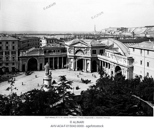 View of Piazza Acquaverde with the Principe Railway Station, in Genoa. General project by Michele Canzio (1854), shot 1915-1920 ca