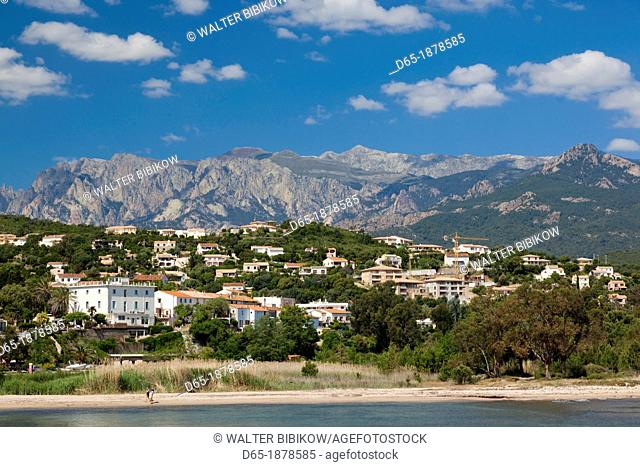 France, Corsica, Corse-du-Sud Department, Corsica East Coast Region, Cote des Nacres, seashell coast area, Solenzara, marina view of the town