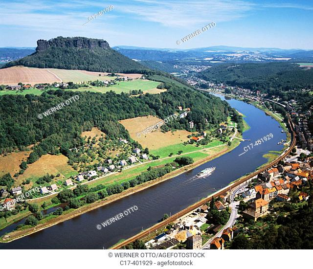 Germany, Saxony, Elbe river, view from Königstein castle