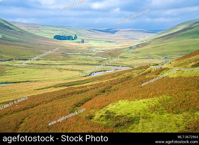 River Elan at Pont Ar Elan in the Cambrian Mountains, Wales UK. September 2020
