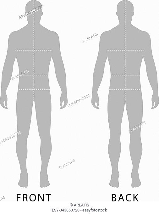 Fashion man's solid template figure silhouette (front & back view) with marked body's sizes lines, vector illustration isolated on white background