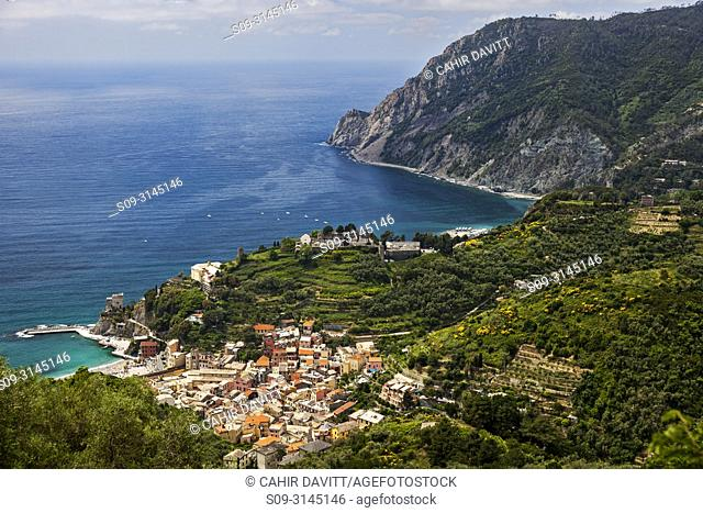 View from above of the town of Monterosso al Mare, Cinque Terre Region, Monterosso Al Mare, Liguria, Italy
