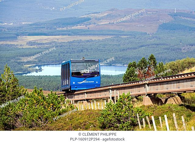 Carriage of the Cairngorm Mountain funicular, highest railway in the United Kingdom in the Cairngorms National Park, Scotland