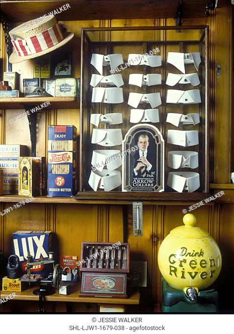 COLLECTION DISPLAYS: Collection of commerical products from late 1800s to early 1900s, display of men's collars, LUX soap box, various commerical tins, etc