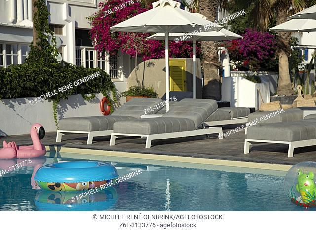 Classic pool at hotel in Karmai Santorini Greece