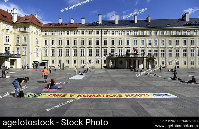 Extinction Rebellion activists organise climate picnic in Prague Castle, Czech Republic, June 26, 2020. They invited President Milos Zeman in an open letter