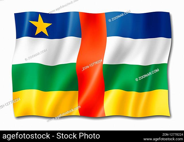 Central Africa flag, three dimensional render, isolated on white