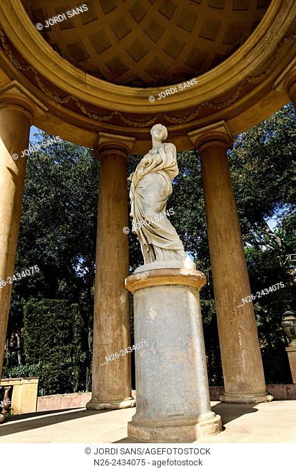 Labyrinth park Horta, in Barcelona. Belvedere, italian-style pavilions