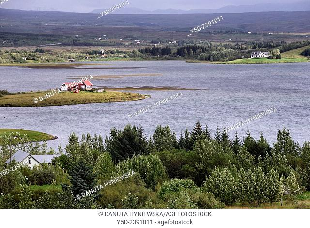 Quiet living in Iceland , houses around banks of Lake Ellidavatn, Kópavogur municipality, Iceland