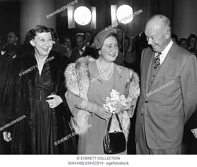 President and Mamie Eisenhower welcome Queen Elizabeth, the Queen Mother, at the White House. Nov. 4, 1954. She was given a dinner followed by a musical...