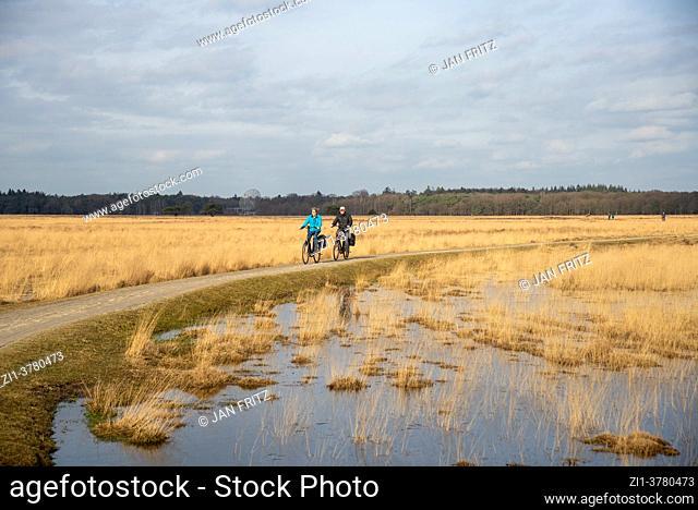 cyclists at Dwingelderveld in Drente, Holland