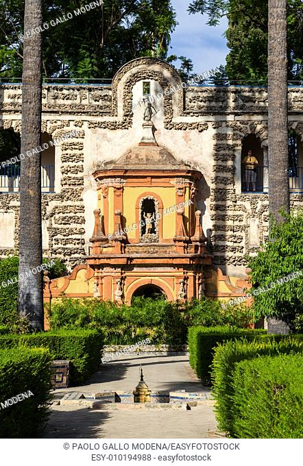 Spain, Andalusia Region. Detail of Alcazar Royal Palace garden in Seville