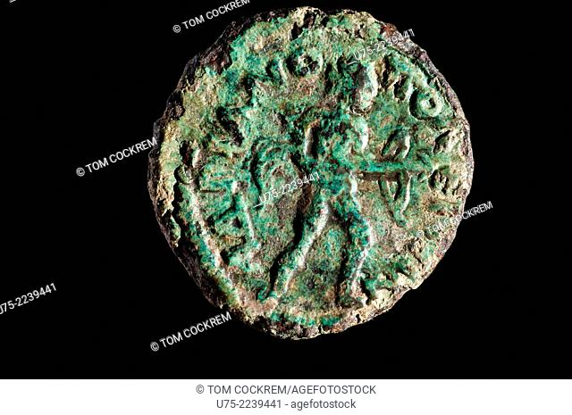 238-44 Provincial Roman coin of Godian 111 of Deultum, Thrace in studio setting
