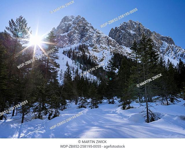 Valley Innerfeldtal (Val Campo di Dentro) in the Sexten Dolomites, part of UNESCO World Heritige Dolomites in deep winter
