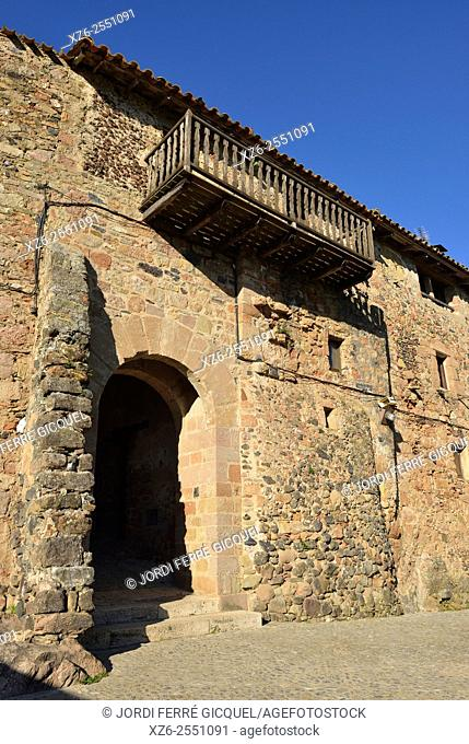 Vila Vella Gate in the medieval town of Santa Pau, La Garrotxa, Catalonia, Spain, Europe