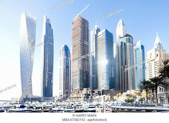 Dubai skyscrapers with Dubai Marina