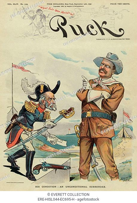 HIS CONDITION-AN UNCONDITIONAL SURRENDER, Sept. 14, 1898 cover of PUCK Magazine. Thomas C. Platt offers his sword labeled N.Y