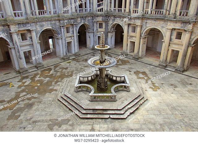 PORTUGAL Tomar -- 2015 -- A fountain shaped like a Templar cross inside the Convento de Cristo - the one-time headquarters of the Knights Templar in Tomar...