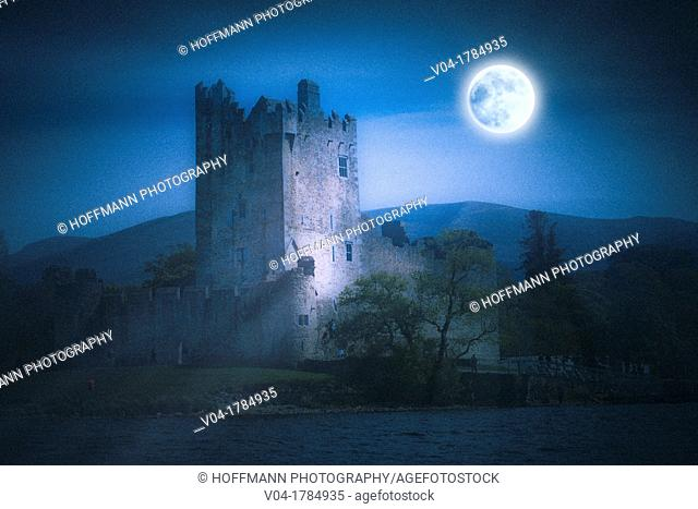 Full moon over the ruins of Ross castle, Killarney, County Kerry, Ireland, Europe